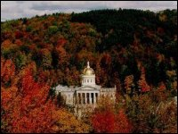 The Vermont State House in foliage season