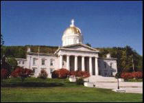 The Vermont State House in the spring