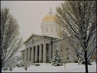 The Vermont State House in winter